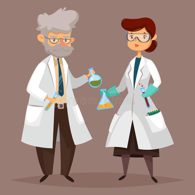 Homme de chimiste, femme de scientifique avec les articles chimiques illustration libre de droits
