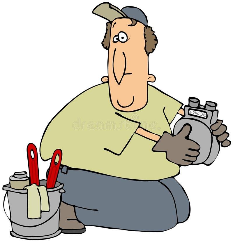Homme de compteur à gaz illustration de vecteur