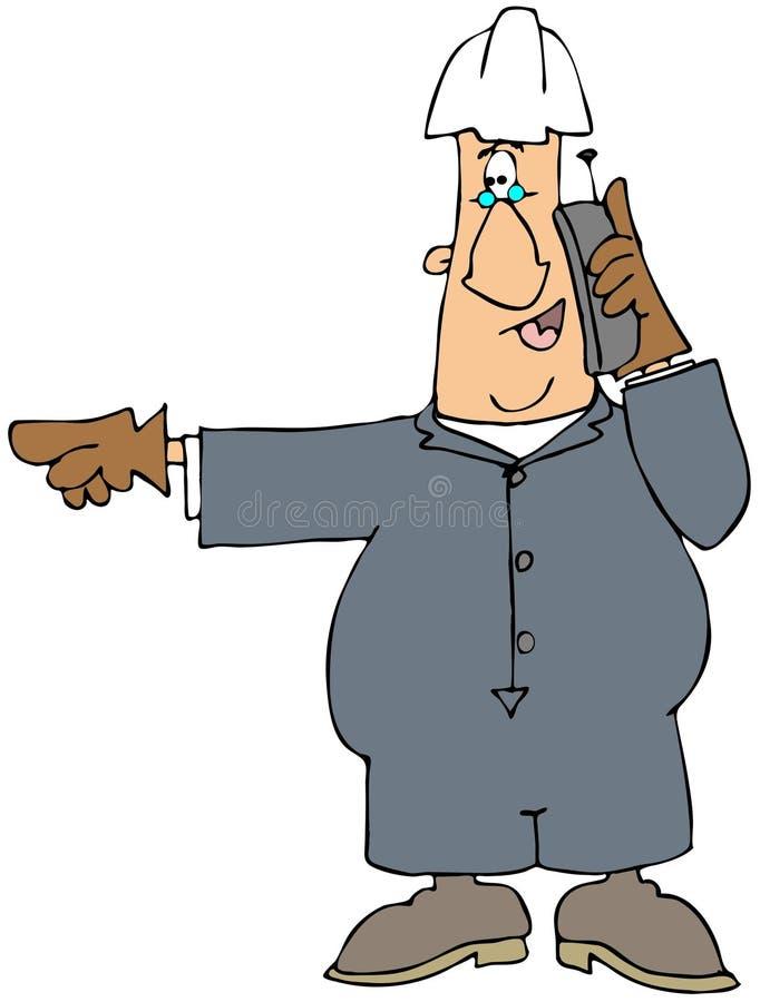 Homme de construction au téléphone illustration de vecteur