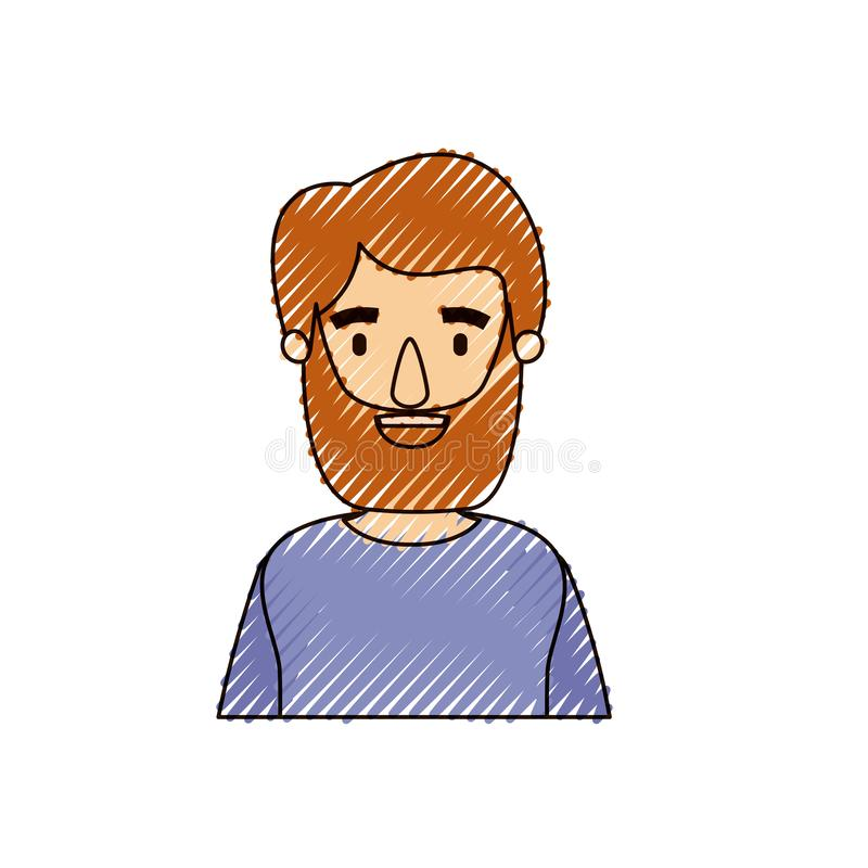 Homme de corps de caricature de rayure de crayon de couleur demi barbu avec le T-shirt illustration libre de droits