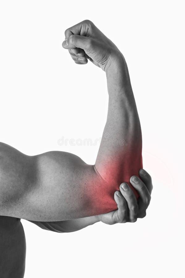 Homme de corps musculaire jugeant le coude endolori en douleur dans les soins de santé de corps et la médecine de sport photo stock