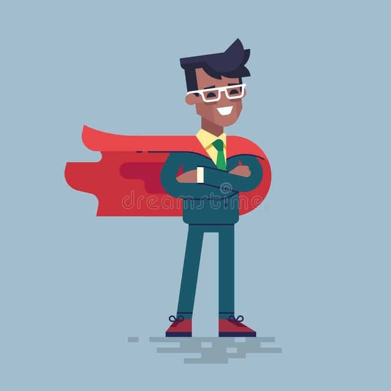 Homme de couleur dans le costume formel et super héros rouge de cap illustration libre de droits