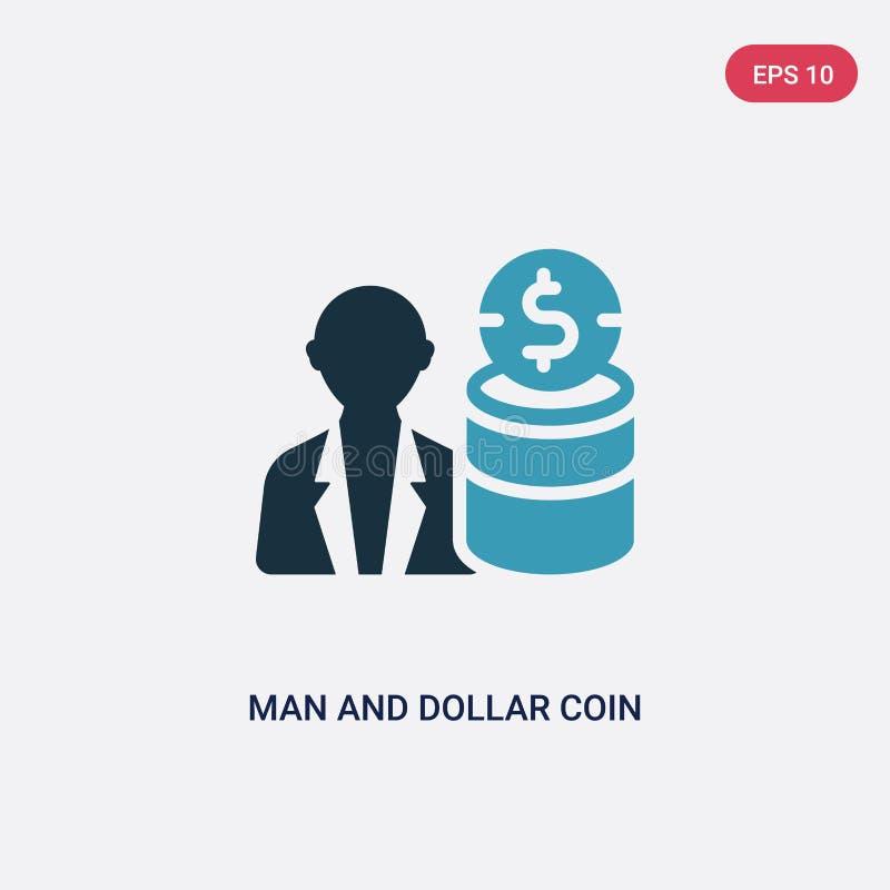 Homme de couleur deux et icône de vecteur de pièce de monnaie du dollar de concept de productivité le symbole bleu d'isolement de illustration stock