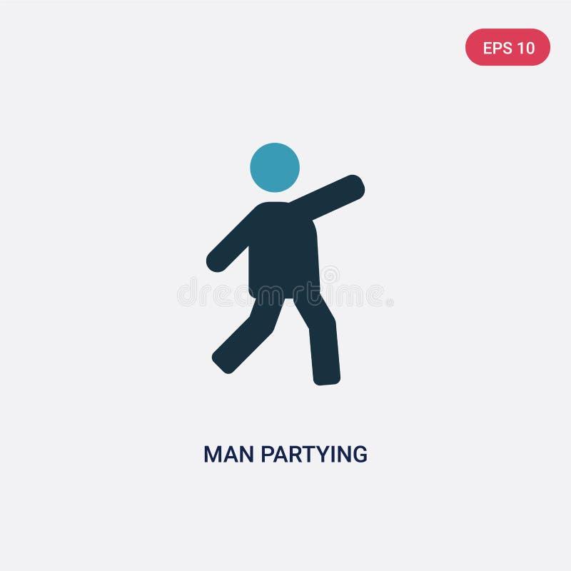 Homme de couleur deux faisant la fête l'icône de vecteur du concept de personnes l'homme bleu d'isolement faisant la fête le symb illustration libre de droits