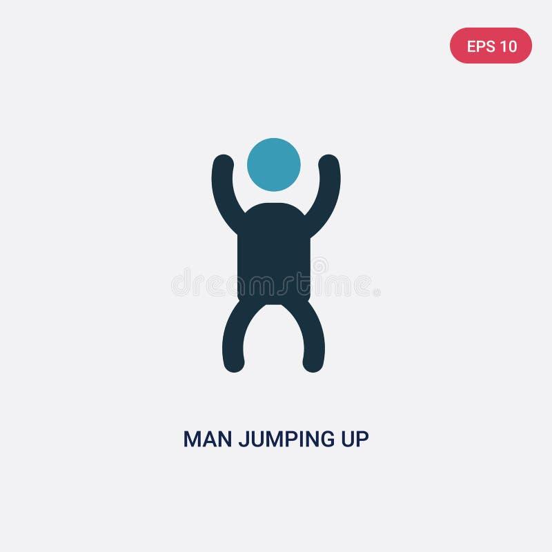 Homme de couleur deux sautant vers le haut de l'icône de vecteur du concept de personnes l'homme bleu d'isolement sautant vers le illustration de vecteur