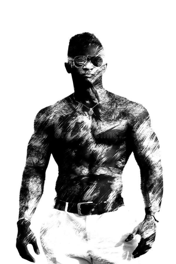 Homme de couleur de double exposition avec un torse nu, sans chemise Modèle de forme physique, corps musculaire D'isolement sur l image stock