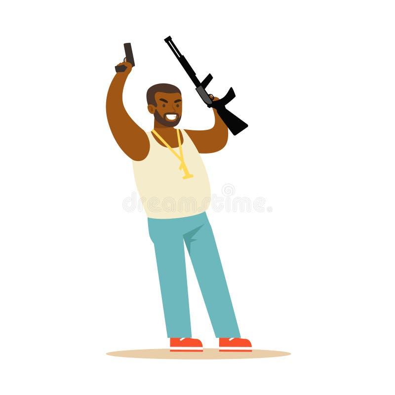 Homme de couleur soulevant ses mains avec des armes à feu à la reddition, illustration colorée de vecteur de caractère de vol illustration stock