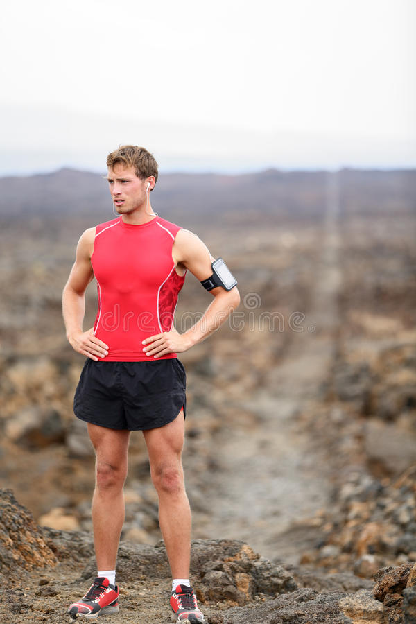 Homme de coureur - portrait du repos courant d'athlète image libre de droits