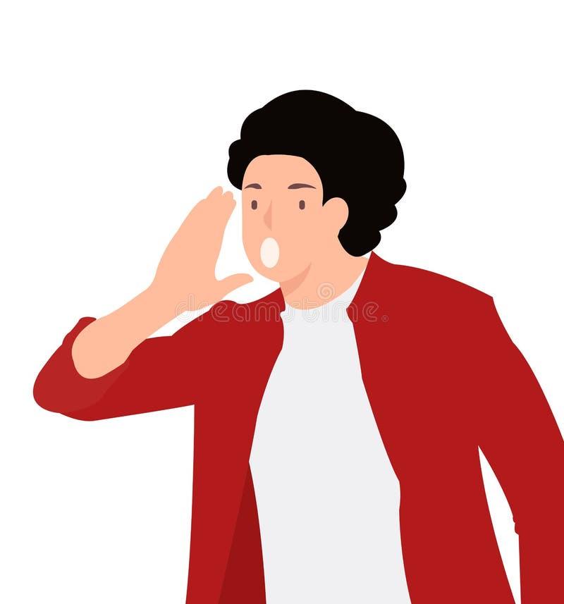 Homme de cri de conception de personnages de personnes de louCartoon d'homme de calibre de bannière de conception de personnages  illustration stock