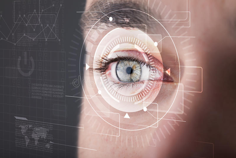 Homme de Cyber avec le regard technolgy d'oeil illustration de vecteur