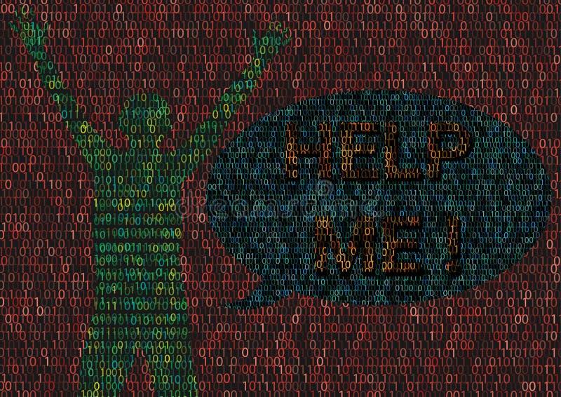Homme de Cyberbullying frappé en monde de Cyber illustration libre de droits