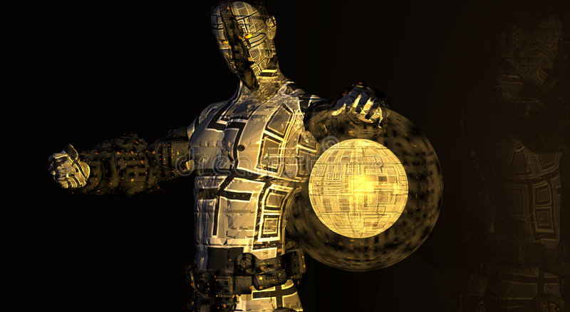 Homme de cyborg de CG. illustration libre de droits