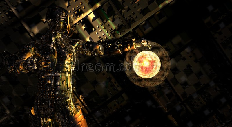 Homme de cyborg de CG. illustration de vecteur