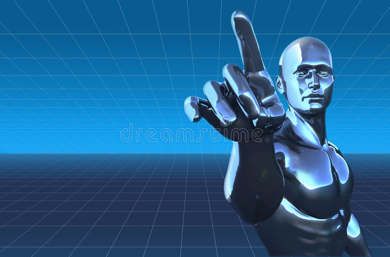 Homme de Cyborg sur le fond digital illustration de vecteur
