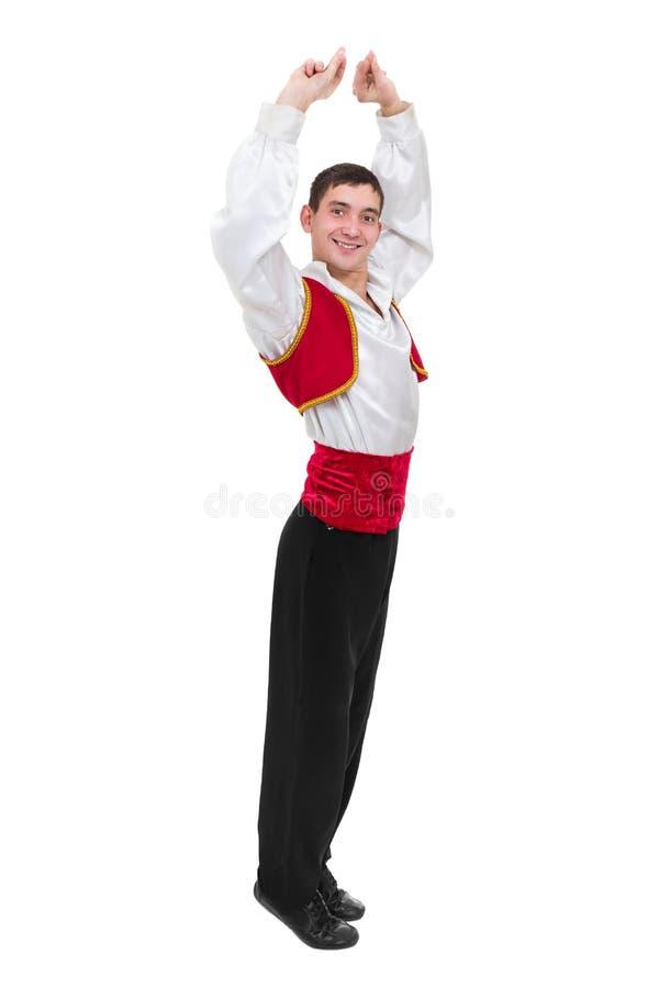 Homme de danse utilisant un costume de torero D'isolement sur le blanc dans intégral photos libres de droits