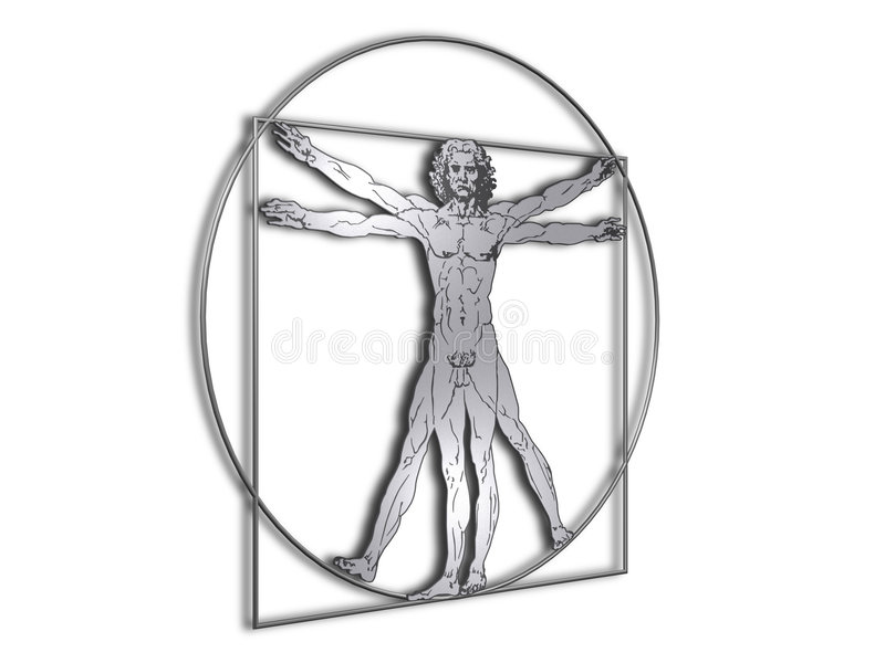 Homme de DaVinci Vitruvian en métal brillant illustration stock