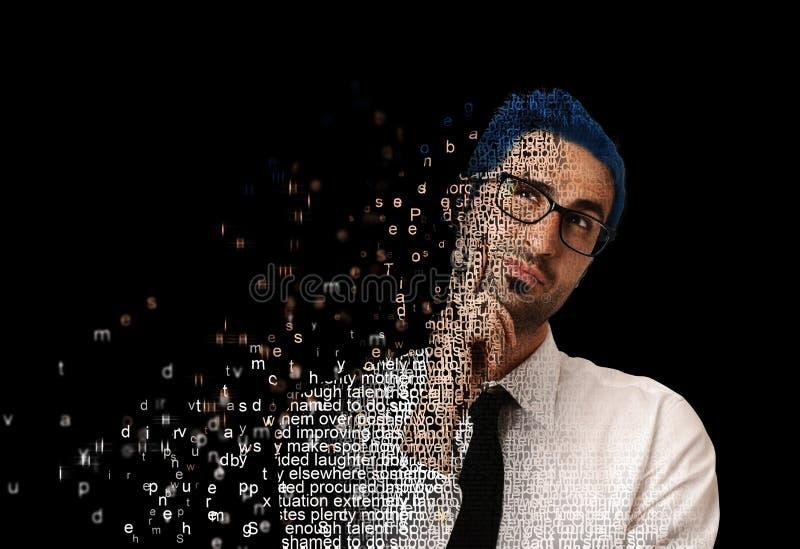 Homme de Digital avec le code image stock
