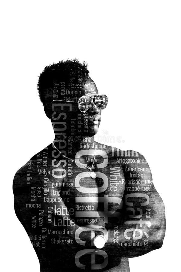 Homme de double exposition en verres avec le torse nu d'isolement sur un fond blanc L'illustration d'art de type de sports Le cor photos libres de droits