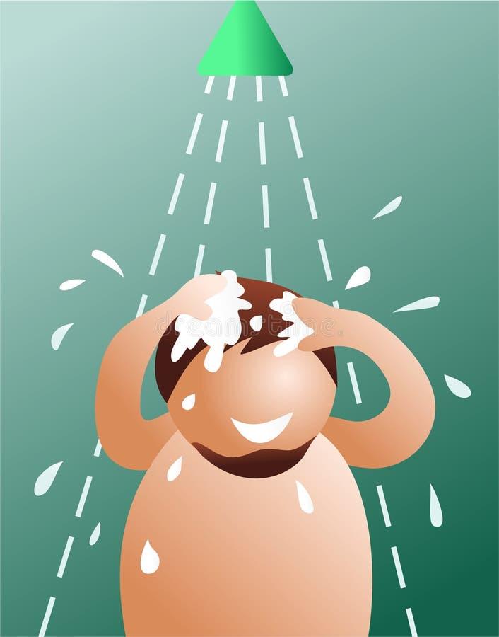 Homme de douche illustration de vecteur