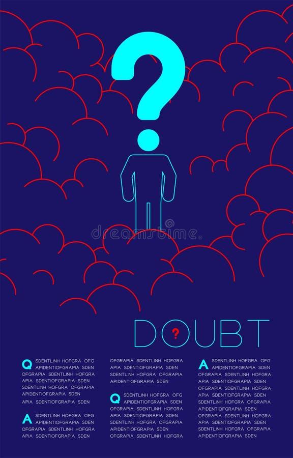Homme de doute avec les questions sociales bleues et rouges de pictogramme d'ic?ne de point d'interrogation : Pollution P.M. 2 co illustration de vecteur