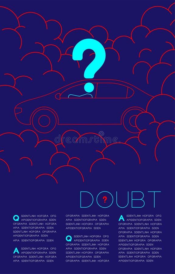 Homme de doute dans la voiture avec les questions sociales bleues et rouges de pictogramme d'ic?ne de point d'interrogation : Pol illustration libre de droits