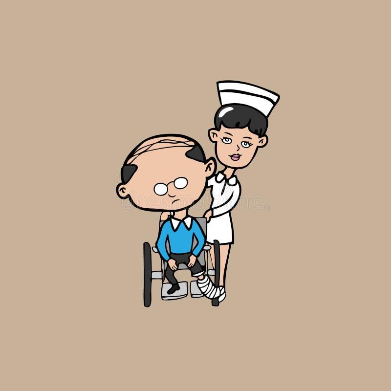 Homme de fauteuil roulant d'infirmière vieil illustration libre de droits