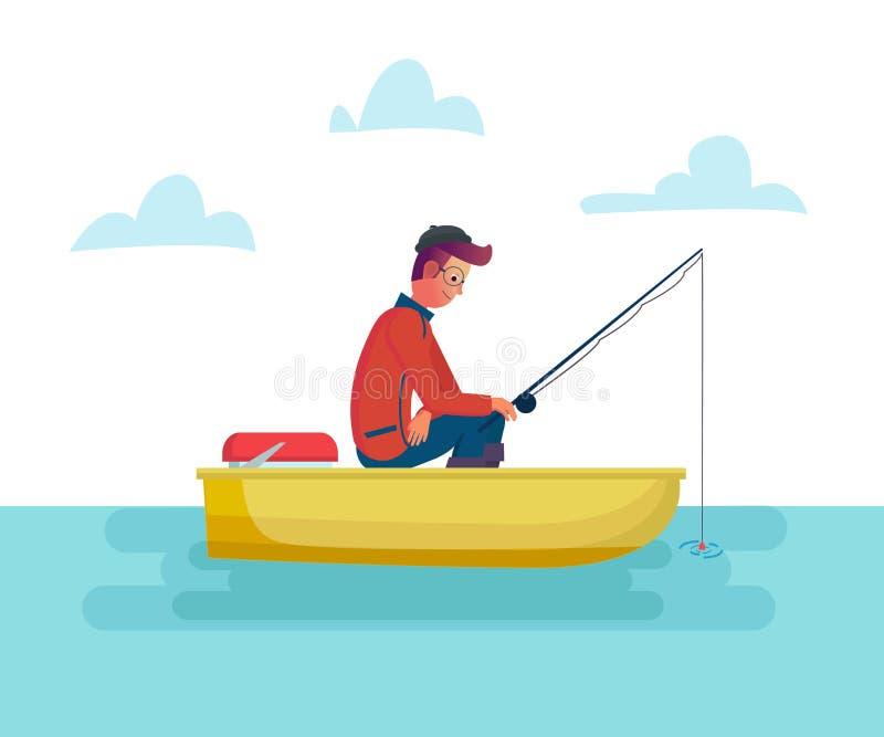 Homme de Fisher tenant la canne à pêche dans le bateau sur le lac ou la mer, pêche de saison Illustration masculine de bande dess illustration stock