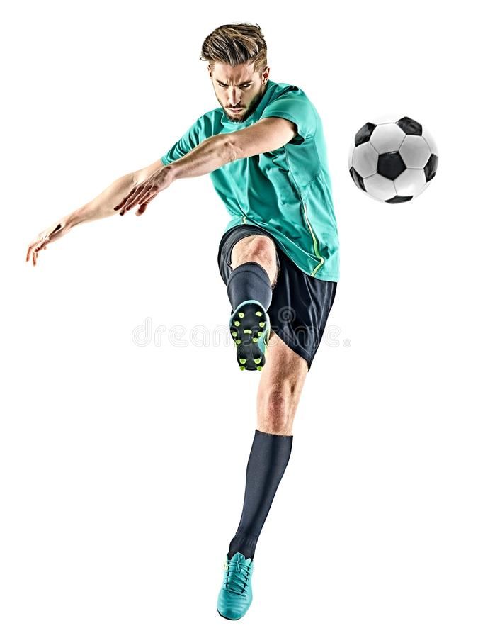 Homme de footballeur d'isolement photo stock