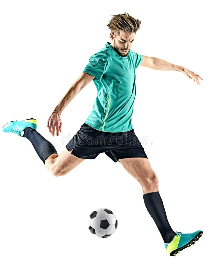 Homme de footballeur d'isolement photos stock
