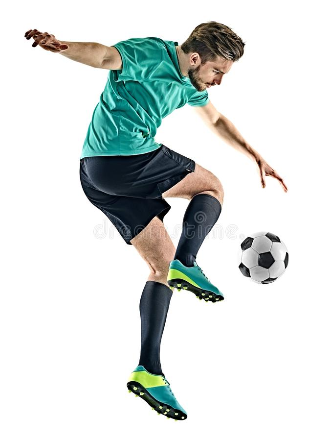 Homme de footballeur jungling le fond blanc d'isolement photo libre de droits
