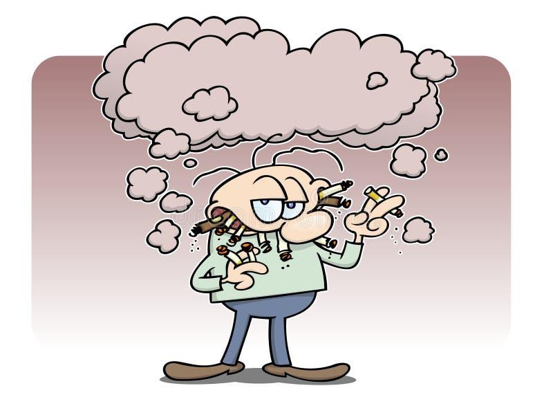 Homme de fumage à chaînes illustration libre de droits