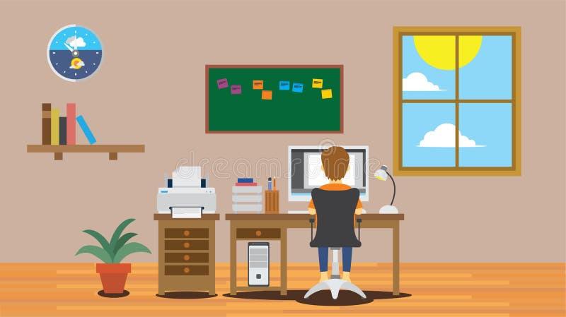 Homme de garçon d'indépendant travaillant au mur de maison d'espace de travail avec la table devant l'ordinateur illustration libre de droits