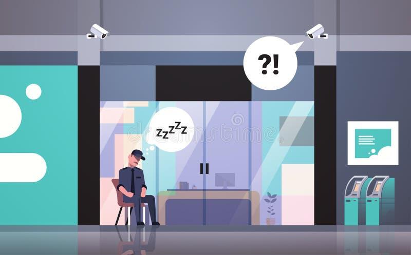 Homme de garde de sécurité dormant aux affaires de porte d'entrée de lieu de travail établissant la bulle extérieure de causerie  illustration stock
