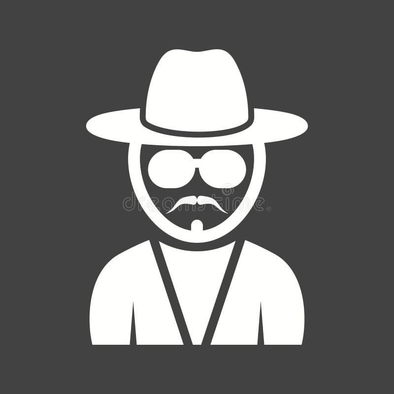 Homme de hippie aux nuances illustration de vecteur