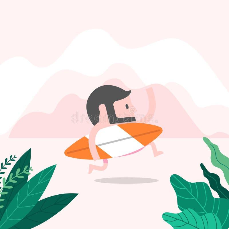 Homme de hippie sur la plage avec la planche de surf Concept d'?t? illustration stock