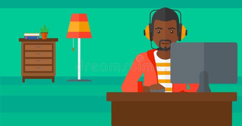 homme de jeu écoutant le vidéo illustration de vecteur