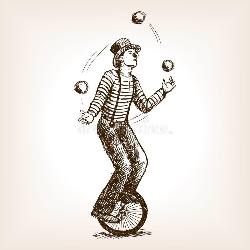 Homme de jongleur sur le rétro vieux vecteur de croquis de monocycle illustration de vecteur