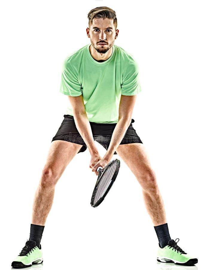 Homme de joueur de tennis d'isolement photographie stock libre de droits
