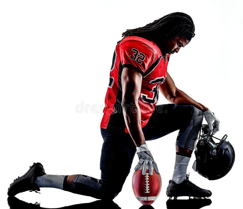Homme de joueur de football américain d'isolement image stock