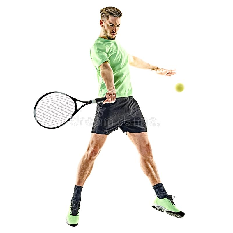 Homme de joueur de tennis d'isolement photo stock