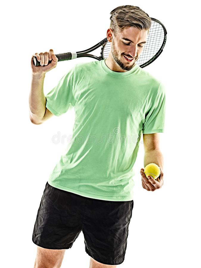 Homme de joueur de tennis d'isolement photos stock