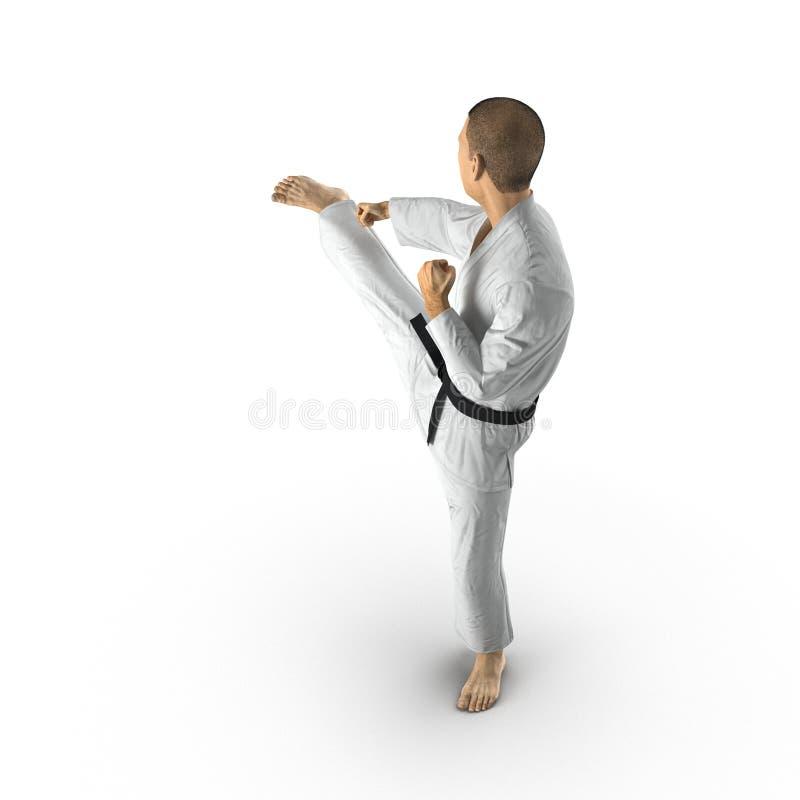 Homme de karaté dans un kimono sur le blanc illustration 3D illustration libre de droits