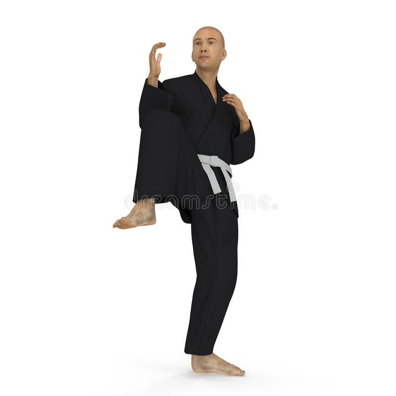 Homme de karaté dans une pose noire de combat de kimono sur le blanc illustration 3D illustration stock