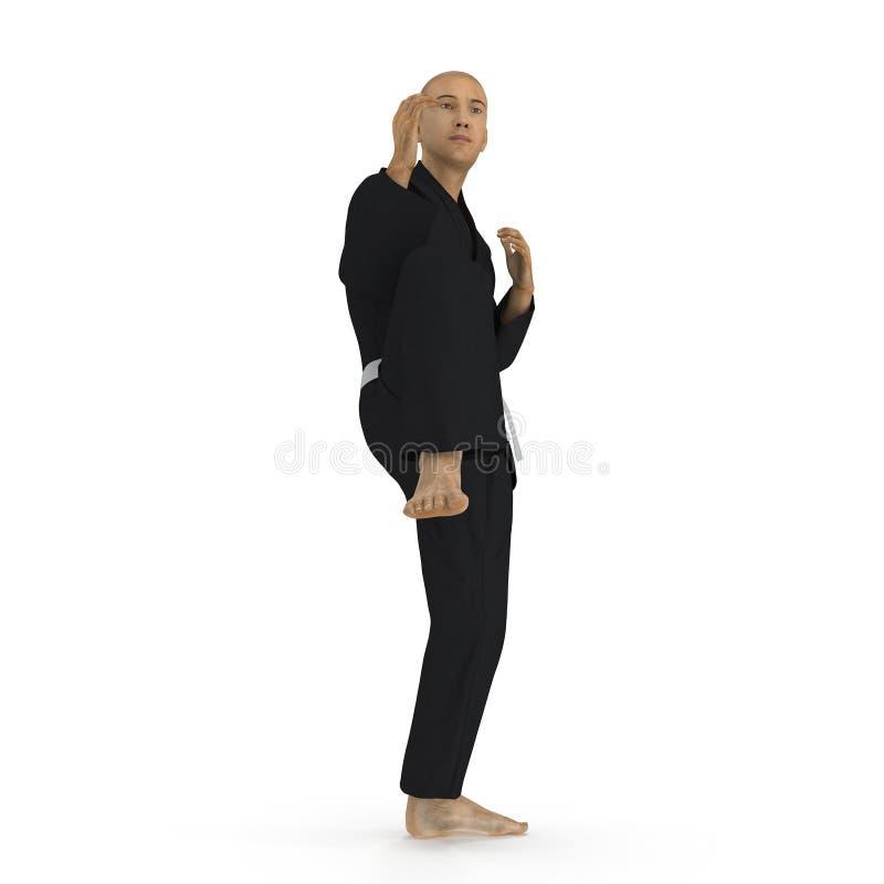 Homme de karaté dans une pose noire de combat de kimono sur le blanc illustration 3D illustration libre de droits
