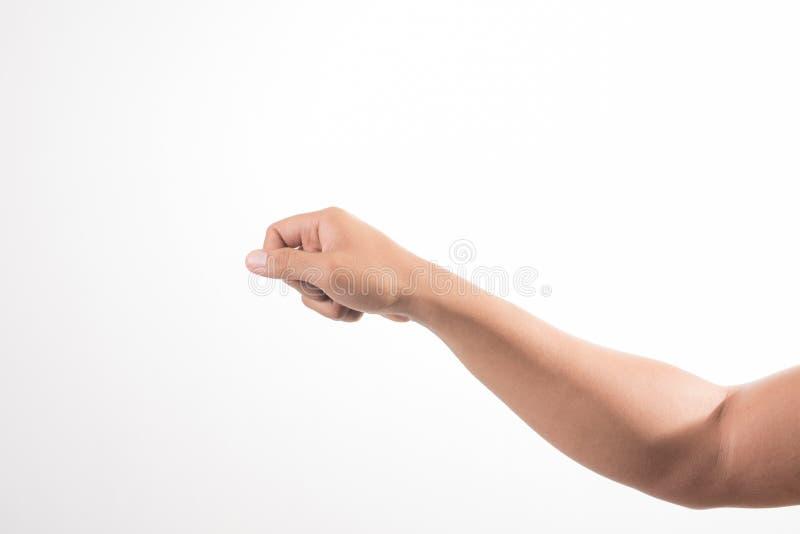 Homme de main tenant quelque chose sur le fond blanc photo libre de droits