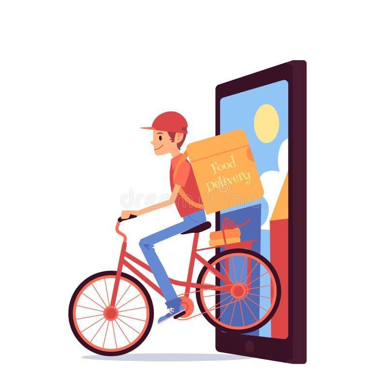 Homme de messager avec la bicyclette d'équitation de sac à dos hors du style de bande dessinée d'écran de téléphone illustration de vecteur