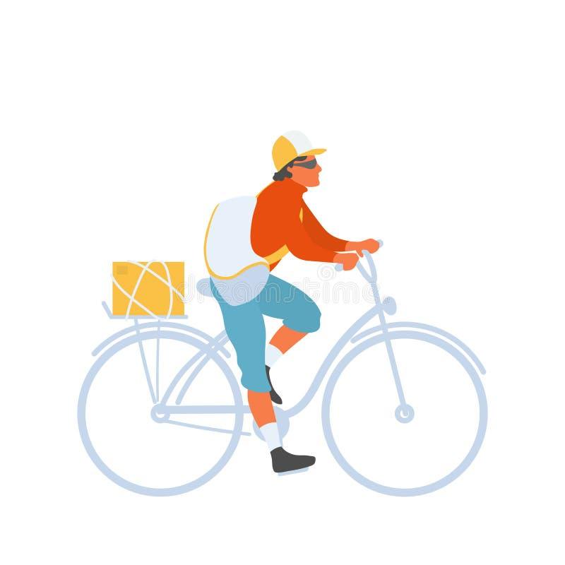 Homme de messager de bicyclette avec le vélo d'équitation de sac pour exécuter la livraison illustration de vecteur