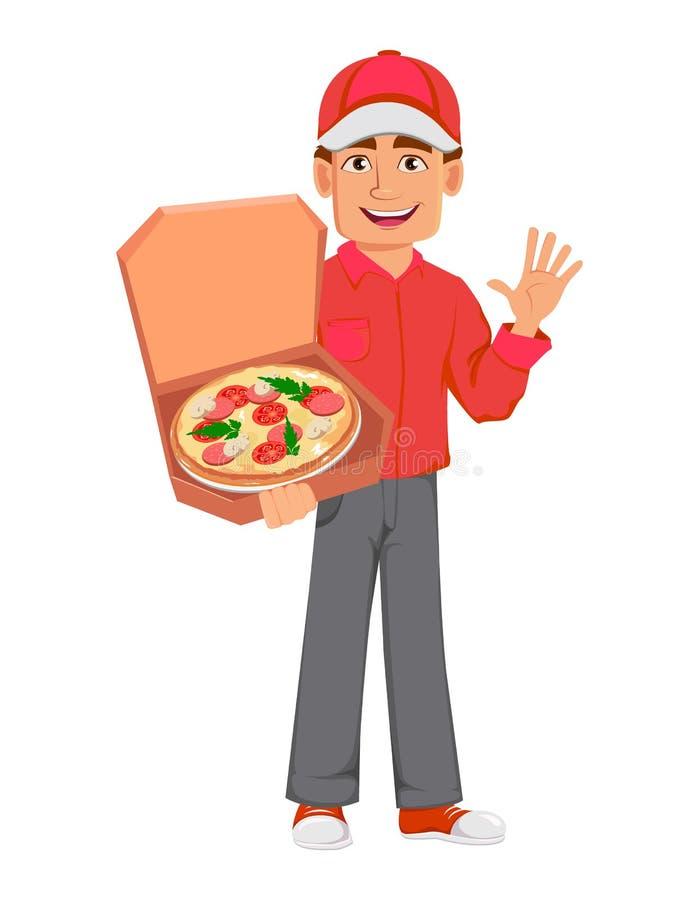 Homme de messager dans l'uniforme rouge Livreur beau illustration stock