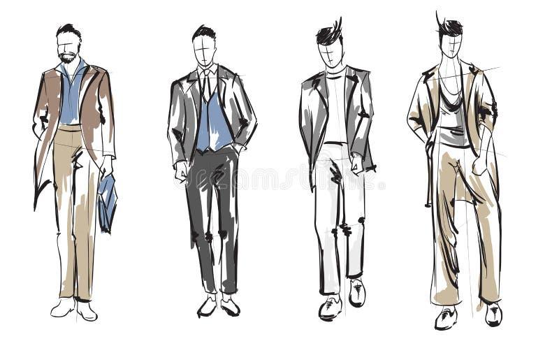 Homme de mode Ensemble de croquis à la mode du ` s d'hommes illustration de vecteur