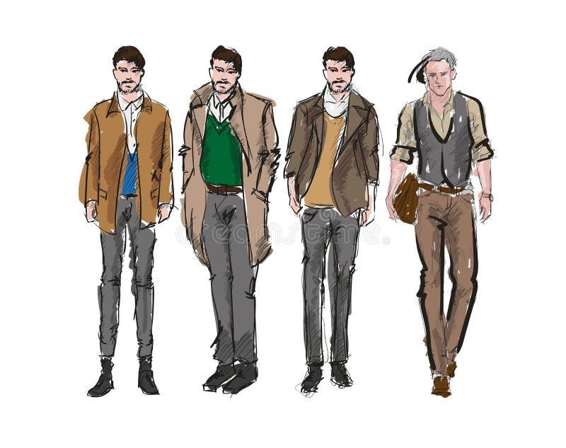 Homme de mode Ensemble des croquis des hommes de fashiona illustration stock